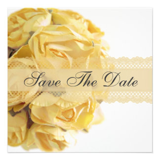 Exquisite Yellow Roses Save The Date Announcement