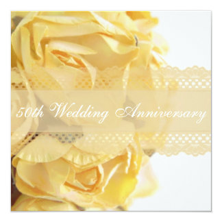 Exquisite Yellow Roses Wedding Anniversary Party Card
