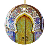 Exquisitely Detailed Moroccan Pattern Door Ceramic Ornament