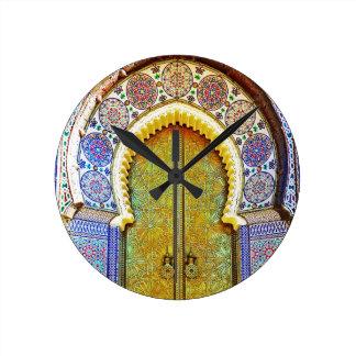 Exquisitely Detailed Moroccan Pattern Door Round Clock