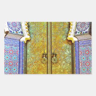 Exquisitely Detailed Moroccan Pattern Door Rectangular Sticker