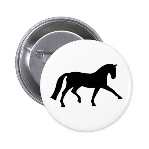 Extended Trot Dressage Horse (black) 2 Inch Round Button