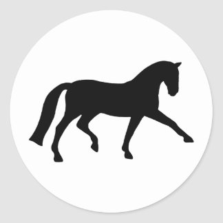 Extended Trot Dressage Horse (black) Classic Round Sticker