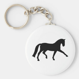Extended Trot Dressage Horse (black) Basic Round Button Keychain