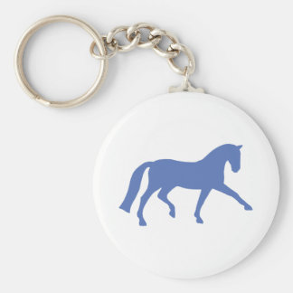 Extended Trot Dressage Horse (blue) Basic Round Button Keychain
