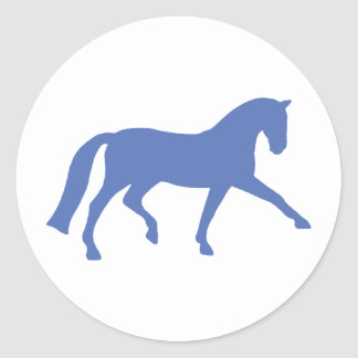 Extended Trot Dressage Horse (blue) Round Sticker