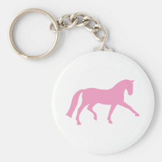 Extended Trot Dressage Horse (pink) Basic Round Button Keychain