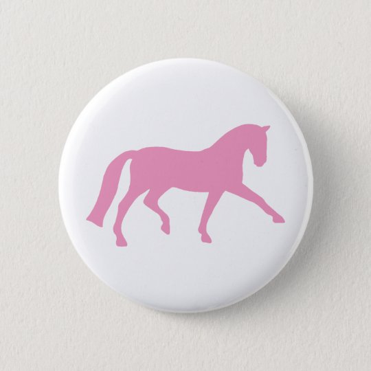 Extended Trot Dressage Horse (pink) Pinback Button