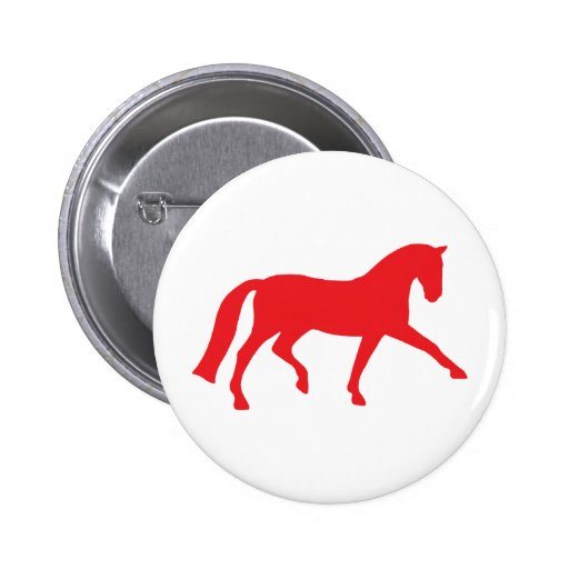 Extended Trot Dressage Horse (red) Buttons