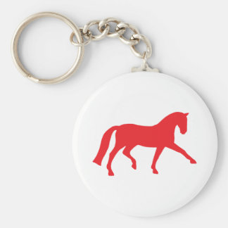 Extended Trot Dressage Horse (red) Basic Round Button Keychain