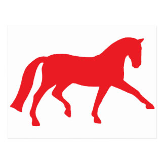 Extended Trot Dressage Horse (red) Postcard
