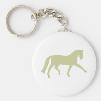 Extended Trot Dressage Horse (sage green) Basic Round Button Keychain