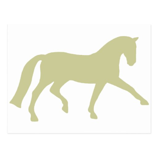 Extended Trot Dressage Horse (sage green) Postcard