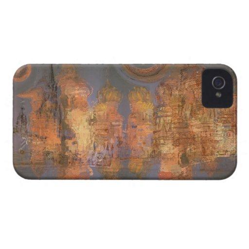 Extensión - ciudad brillante de oro del sueño Case-Mate iPhone 4 protectores