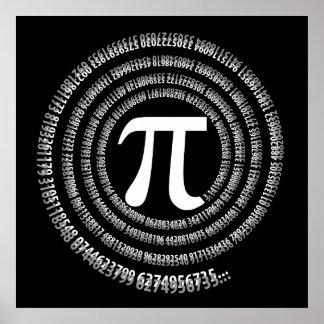 Extensión del diseño del espiral del número del pi póster