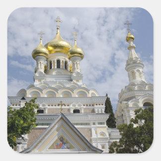 Exterior de la catedral 2 de Alexander Nevsky del Calcomanías Cuadradass Personalizadas