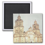 Exterior of Mexico City Cathedral 2 Inch Square Magnet
