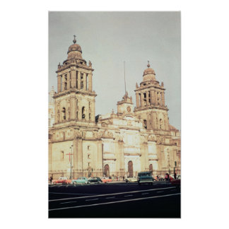 Exterior of Mexico City Cathedral Poster