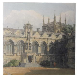 Exterior of Oriel College, illustration from the ' Large Square Tile