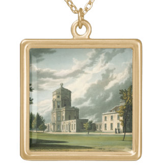 Exterior of The Astronomical Observatory, illustra Square Pendant Necklace