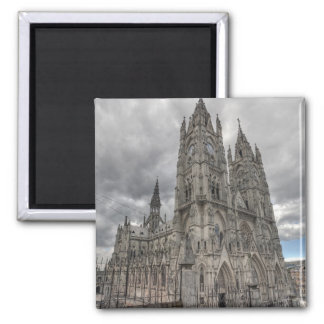 Exterior of the Basilica in Quito, Ecuador 2 Inch Square Magnet