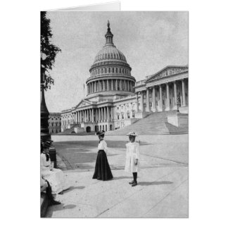 Exterior of the Capitol building with women Cards