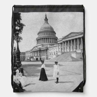 Exterior of the Capitol building with women Drawstring Backpack