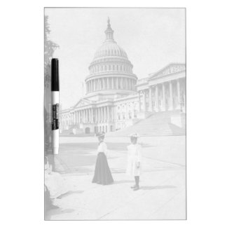 Exterior of the Capitol building with women Dry-Erase Board