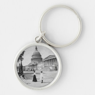 Exterior of the Capitol building with women Keychain