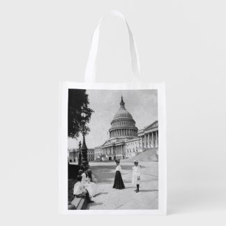 Exterior of the Capitol building with women Market Tote