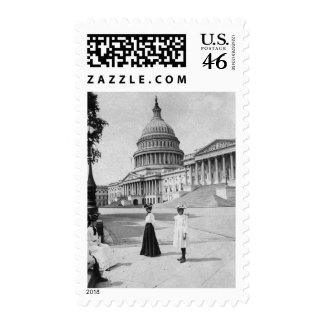 Exterior of the Capitol building with women Postage Stamp
