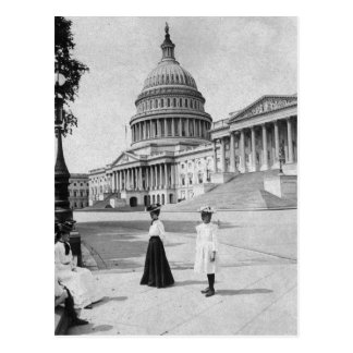 Exterior of the Capitol building with women Postcard