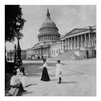Exterior of the Capitol building with women Poster