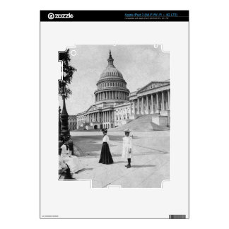 Exterior of the Capitol building with women Skin For iPad 3
