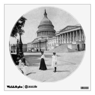 Exterior of the Capitol building with women Wall Sticker