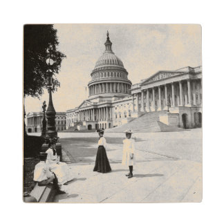 Exterior of the Capitol building with women Wooden Coaster