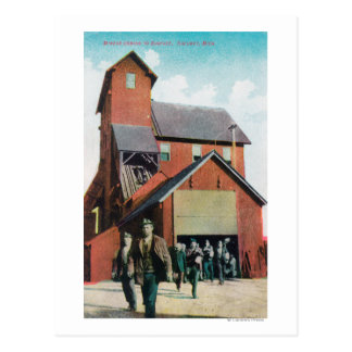 Exterior View of a Mine, Workers Exiting Postcard