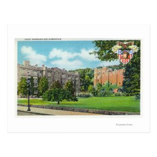 Exterior View of Cadet Barracks and Gymnasium Postcard