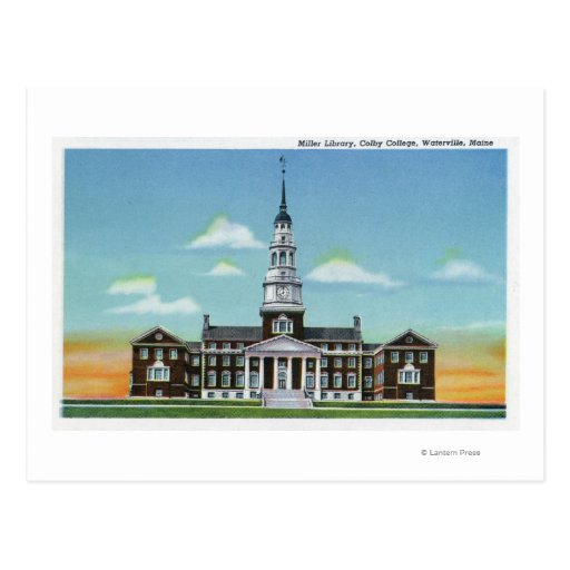 Exterior View of Colby College Miller Library Postcard