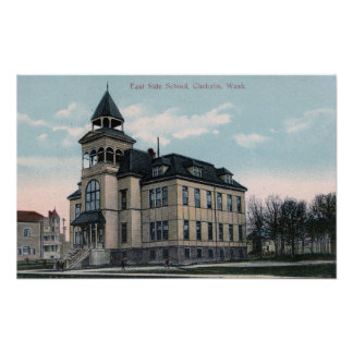 Exterior View of East Side School Bldg Posters