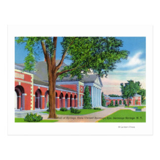 Exterior View of Hall of Springs and Grounds Post Card