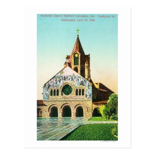Exterior View of Memorial Church at Stanford U Postcard