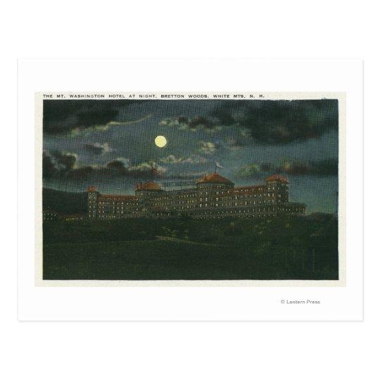 Exterior View of Mt Washington Hotel at Night Postcard