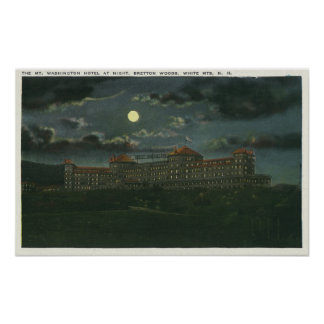 Exterior View of Mt Washington Hotel at Night Poster