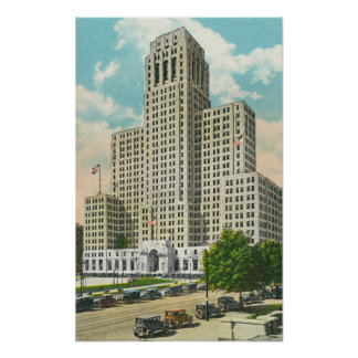 Exterior View of NY State Office Bldg Poster
