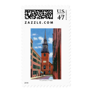 Exterior View of Old North Church Postage Stamp