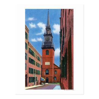 Exterior View of Old North Church Postcard