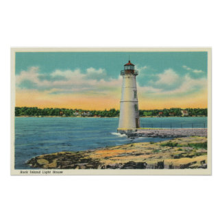 Exterior View of Rock Island Light House Poster