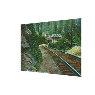 Exterior View of Shasta Retreat from Rail Tracks Gallery Wrap Canvas