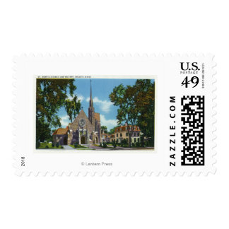 Exterior View of St. Mary's Church and Rectory Stamps